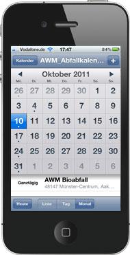 Smartphone Kalender Monat