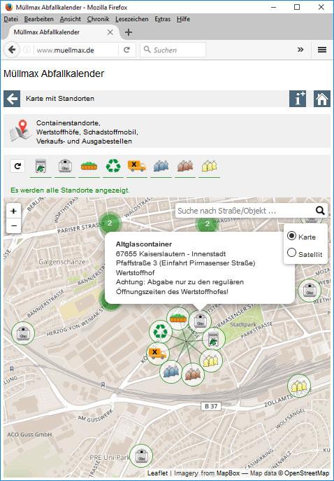 Altglascontainerstandort auf einer Karte mit Zusatzinformationen und weiteren Entsorgungsmöglichkeiten an diesem Standort