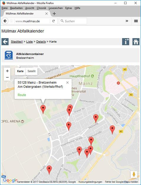 Altkleidercontainerstandort auf einer Karte mit Zusatzinformationen