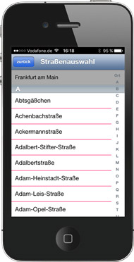 iPhone App Strassen