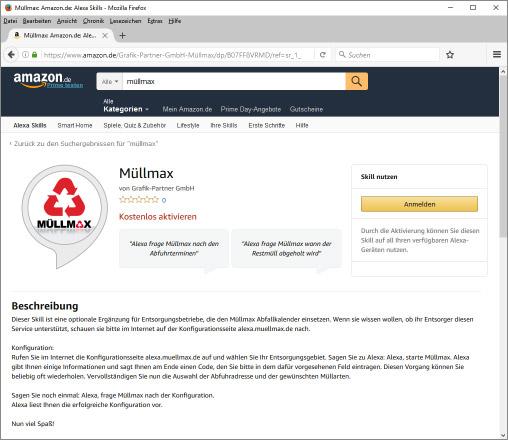 Der Müllmax Skill bei Amazon